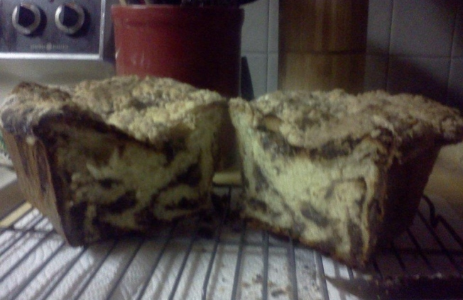 babka with chocolate and almond rum swirl