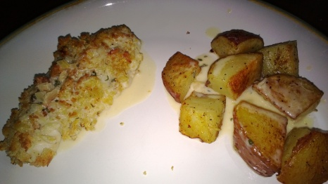 ciabatta crusted parm chicken with shallot sage sauce