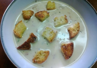 homemade clam chowder and croutons
