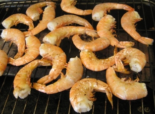 grilled jumbo shrimp (after a quick marinade in some minced garlic, olive oil and lemon juice)