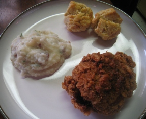 crunchy fried chicken with sour cream mashed potatoes and buttermilk biscuits