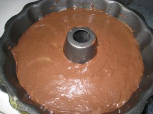 batter in bundt pan
