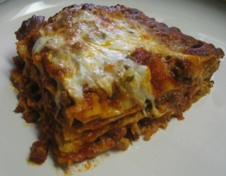 lasagna with a sausage, ground beef and fennel seed sauce.