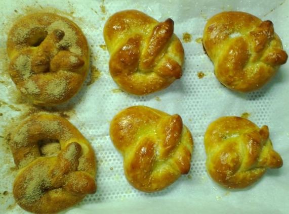 cinnamon sugar and salted pretzels