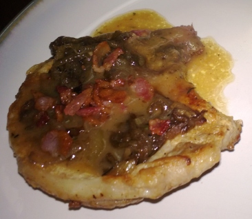 smothered pork chop with lots of gravy!