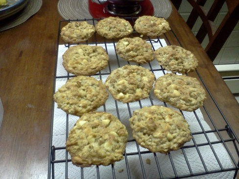 white chocolate, coconut, walnut oatmeal cookies