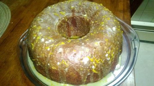pumpkin bundt cake with rum raisins and orange glaze