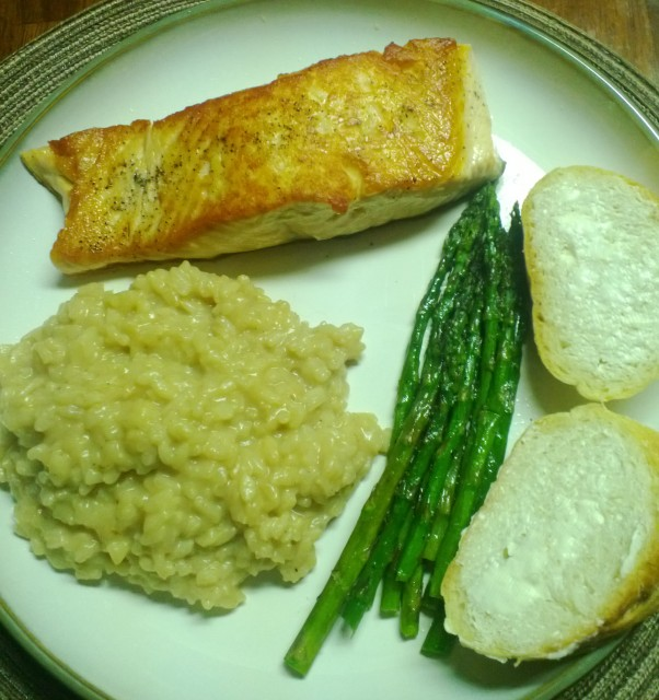 pan seared salmon with crispy skin, asparagus and parmesan risotto