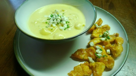 "mac and cheese ""soup"", buffalo chicken finger bites and blue cheese chive gremolata"