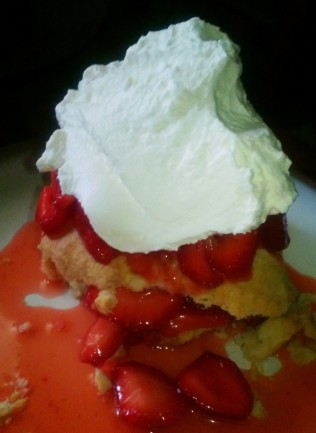 strawberry shortcake with fresh picked berries and whipped cream