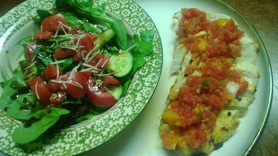salsa chicken with baby spinach salad dressed with fresh balsamic dressing