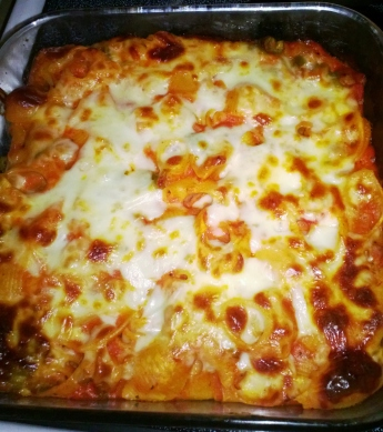 baked ziti (made with a bechamel sauce and garlic marinara)