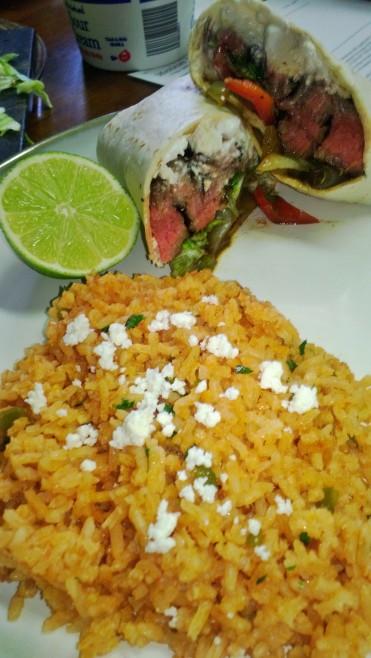 fajitas and mexican rice