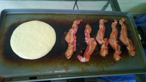 if you are already cooking some bacon, just use the fat from your bacon (drain some off if necessary) in place of butter it will add extra flavor :)