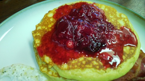 fluffy pancake topped with quick cherry syrup