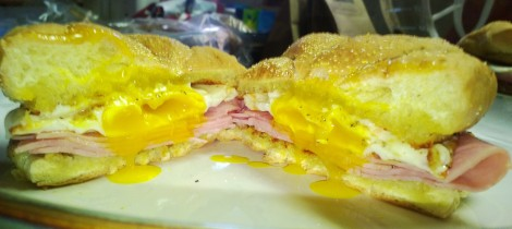 ham, egg and cheese sandwich with horseradish and onion toasted bun