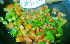 tomatoes and scallions