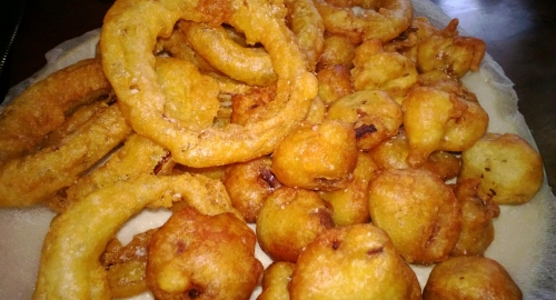 Beer Battered Onion Rings and Mushrooms