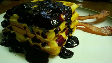 Waffles with Blueberry Compote