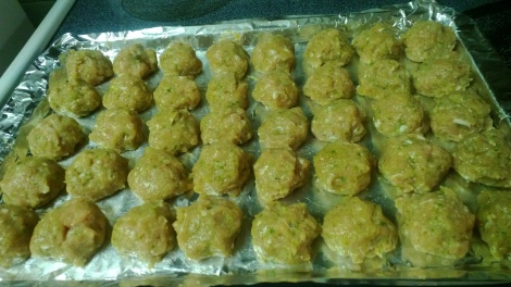 Meatballs about to take a chill: i reformed them after chilling to tighten up the shape a bit.