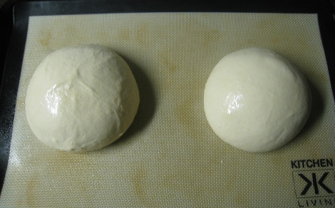 two boules formed and ready to go into the fridge for the night