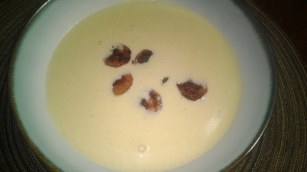 BEER CHEESE SOUP WITH ANDOUILLE AND CARAMELIZED ONIONS