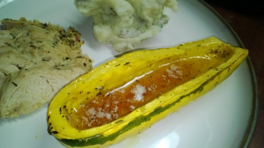ROASTED DELICATA SQUASH WITH MAPLE SYRUP AND THYME