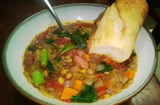 KIELBASA, KALE AND LENTIL SOUP