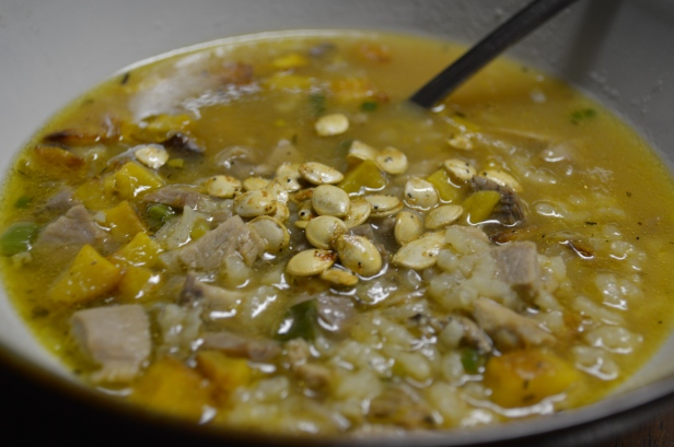 DELICATA, PORK AND RICE SOUP WITH ROASTED DELICATA SEEDS