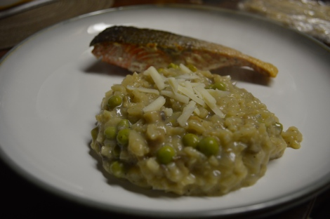 Mushroom Risotto with Peas served as part of dinner before fulfilling it's destiny of becoming risotto!