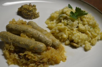 BRATWURST WITH SAUERKRAUT AND KAESE SPATZLE