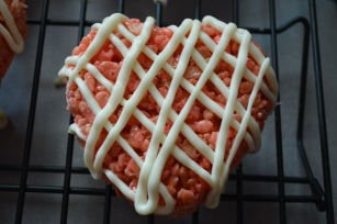 STRAWBERRY RICE CRISPY TREATS WITH WHITE CHOCOLATE DRIZZLE
