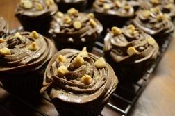 DARK CHOCOLATE CUPCAKES WITH CHOCOLATE PEANUT BUTTER BUTTERCREAM